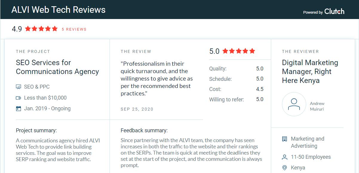 Client Review on ALVI Web Tech Clutch Profile