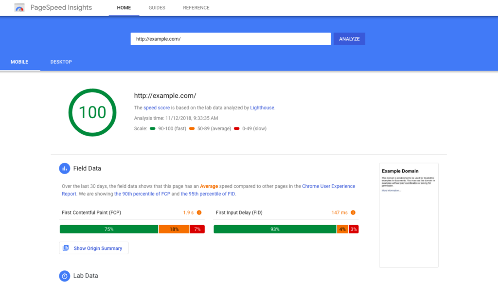 PageSpeed Insights Local SEO Tool